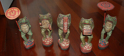 Folk Art Wood Carved Frog Band - 5 piece set