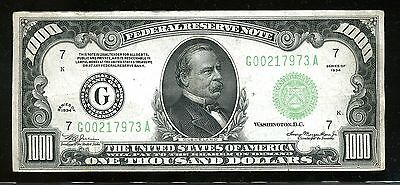 $1000 Federal Reserve Note Series 1934 G00217973A FR2211