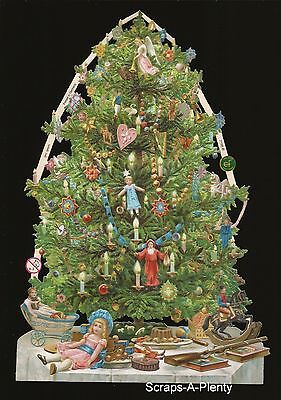 German Vintage Style Embossed Scrap Die Cut- Stunning Christmas Tree WOW EF7195b