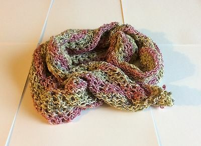 Green and pink kids handmade knitted scarf