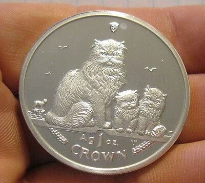 Isle of Man - 2005 Silver Crown Proof (Himalayan Cats)