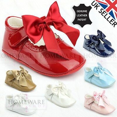 31198a62c6b Baby Girl Spanish Pram Bow Shoes Patent Leather Pink Sky White Navy Camel  Ivory