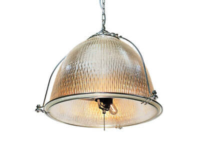 "Industrial Pendant Light Fixture - Salvaged 16"" Diam Glass Holophane Chandelier"