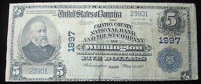 1902 $5 National Bank Note - Wilmington, OH - Clinton County... Charter #1997