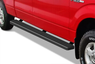 """Matte Black 5"""" iBoard Running Boards 09-14 Ford F-150 SuperCrew Cab"""