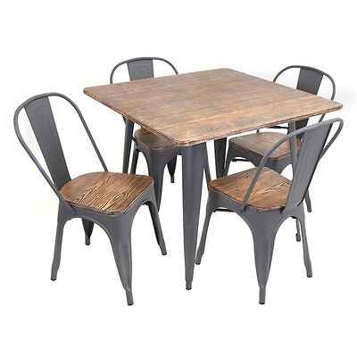 Bistro Dining Set 5 Pc Table 4 Chairs Metal Wood Industrial Urban Vintage Style