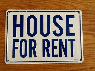 "Vintage Blue / White "" House for Rent "" Realtor Metal Sign, 7 x 10"