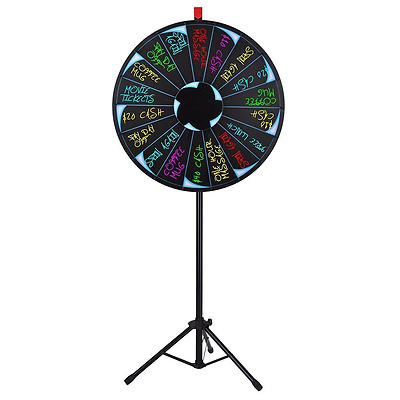 Editable Prize Fortune Wheel 18 Slot Floor Stand Tripod Spinning Carnival Game
