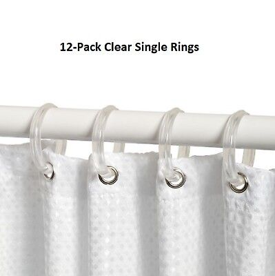 Set of 12 Clear Plastic Shower Curtain Ring Bathroom Hooks for Liner Rod Rings