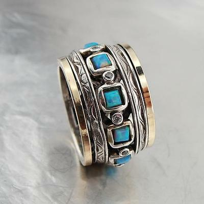 Elegant  Gold 925 Silver Swivel Band Ring with Blue Opal Womens Fashion Jewelry
