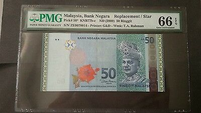 Malaysia 2009 50 Ringgit, ZE Replacement Banknotes, PMG66, #02