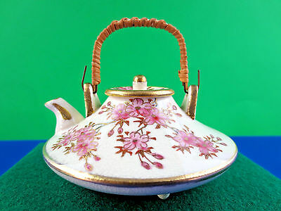 "Antique Japanese  K P C   KYOTO  Satsuma   2 1/4"" Tall Mini Teapot, ca. pre-1891"