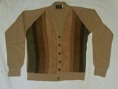 VINTAGE 60s BROWN WOOL & SUEDE CHAIN KNIT CARDIGAN CAMPUS SWEATER M