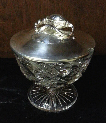 Georg Jensen Sterling Silver Blossom Lid Crystal Cut Base Covered Condiment