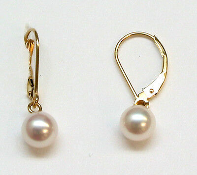 Solid 14k Yellow gold 6.5 millimeter Akoya cultured Pearl Leverback Earrings