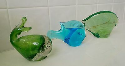 Two Fish and a Whale Art Glass Sculptures Blue and Green