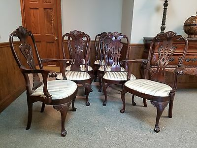 Set Of 8 HENREDON Queen Anne Philadelphia Mahogany Dining Room Chairs