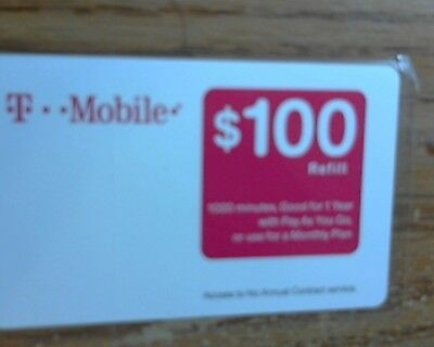 New T-Mobile $100 Prepaid Refill Card Fast First Class Mail