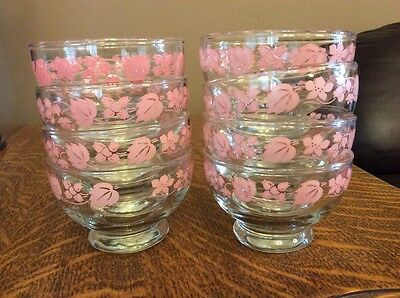 Mid Century Custard Dishes Pink flowers & leaves Set Of 8 (lot)