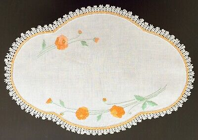 White Linen Embroidered Doily with Crocheted Edge Orange Flowers Green Leaves
