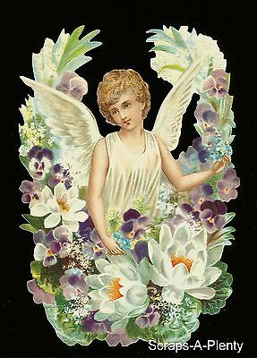 German Embossed Vintage Style Scrap Die Cut- Lrg Christmas / Easter Angel BK5086
