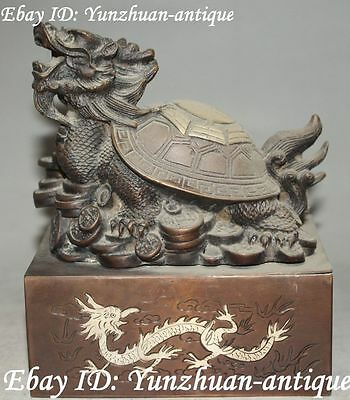 Marked China Bronze Gilt Eight Diagrams Bat Dragon Loong Turtle Tortoise Statue