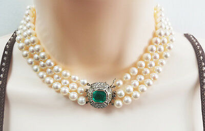 Antique 4 carat emerald & 3 strand pearl choker necklace in 14k white gold