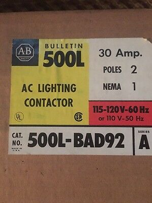 NEW Allen Bradley 500L-BAD92 AC Series A Lighting Contactor ENCLOSURE ONLY.