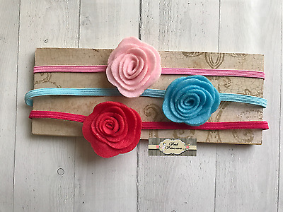 Baby Headband Set Felt Rolled Flower On Thin Headband, Any Size