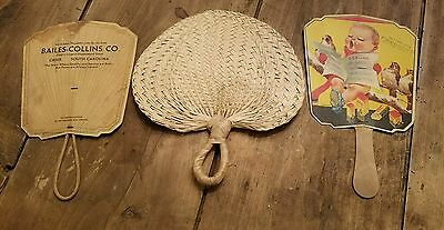 Old Lot of 3 Old 1950s Greer S C. Fans Frierson's  Drug Store, Bailes-Collins Co