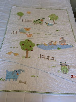Pottery Barn Kids Crib Quilt Farm Animals & Country Scene Embroidered Green Trim