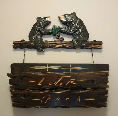 VTG Black Forest Style Carved Wood BEARS Letter Holder Box Wall Hanging Russian?