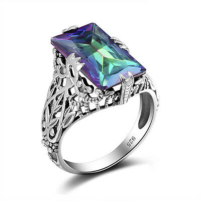 Vintage Rainbow Mystical Fire Topaz 925 Sterling Silver Ring Size 5-10 For Women