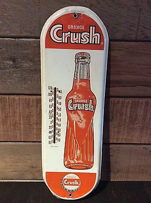 Extremely Rare Orange Crush Thermometer Original Vintage Collectible