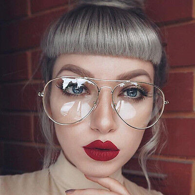 Gold Silver Clear Lens Aviator Glasses Classic Pilot Tear Drop Frame Women