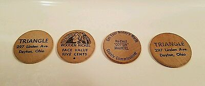 4 Vintage Wooden Nickels Dayton Ohio Advertising Campaigning