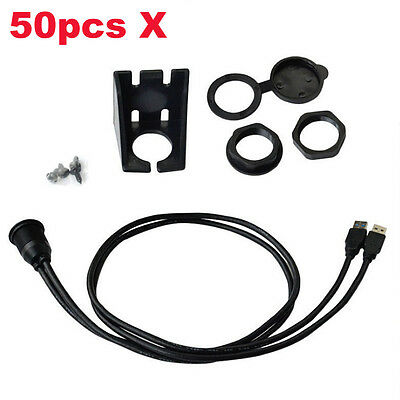 50pcs/lot X Dual USB3.0 Male to Female Panel Mount Car Accessories Cable 1m/3ft