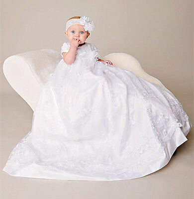 White Lace Baby Girls Christening Gown with Headband New Baptism Dress 2017