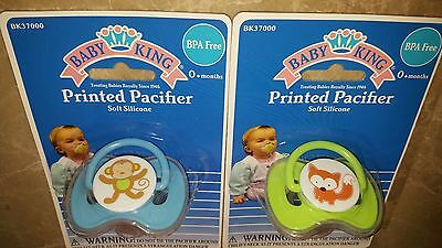 New 2 BABY KING 0+ Soft Silicone Pacifier, BPA FREE, lot of 2
