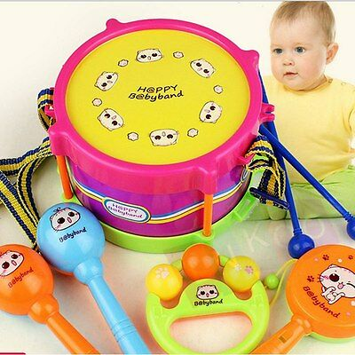 5X/Set Baby Infant Toddler Developmental Toy Kids drum rattles Educational Toys