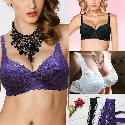 Plus Size Push Up Bra Floral Lace Bras Underwire Padded Underwear 36-44 D DD E F