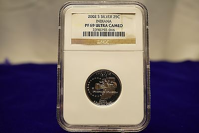 2002 S Indiana Silver Proof Ngc Pf69 Ultra Cameo Pf69