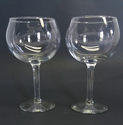 Lot of 2 Beautiful long stemmed Large Wine Glasses Glass barware mancave cups