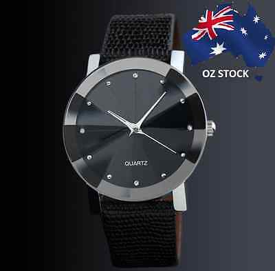 Unisex Luxury Stainless Steel Quartz Casual Leather Band Dial Wrist Watch