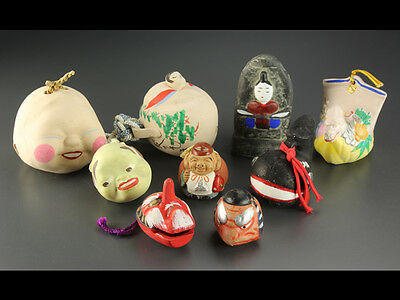 Japanese Folk Craft Different Shapes of Clay Bells Set of 9: AU368