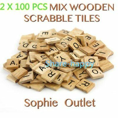200PCS Wooden Alphabet Scrabble Tiles Black Letters & Numbers For Crafts Wood OO