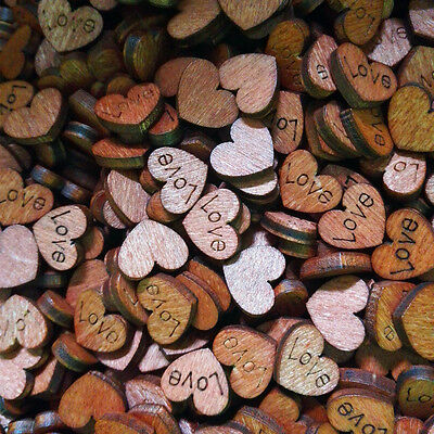 100 Vintage Wooden LOVE Wedding Confetti Table Decoration Heart Stickers buckle