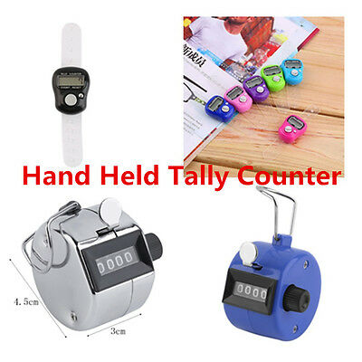 Hand Held Tally Counter Manual Counting 4 Digit Number Golf Clicker NEW OO