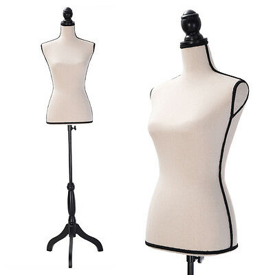 Beige Female Mannequin Torso Dress Form Clothing Display W/Black Tripod Stand