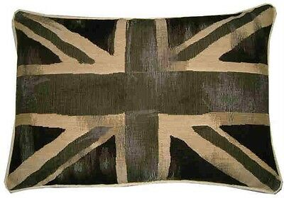 Union Jack Black Vintage Style Flag Oblong Woven Tapestry Cushion Cover